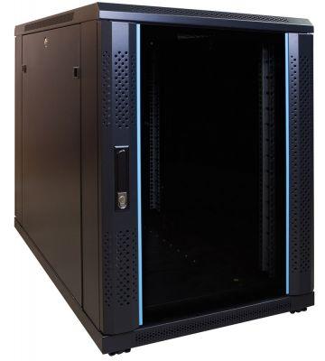 15U minikast met glazen voordeur 600x1000x770mm
