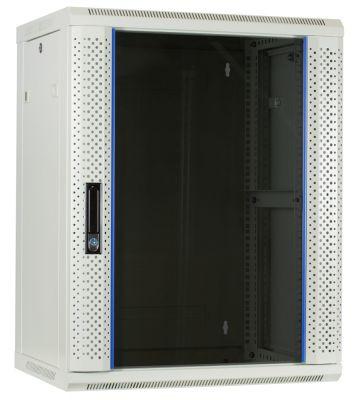 15U witte wandkast met glazen voordeur 600x450x770mm
