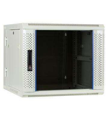 9U witte wandkast (kantelbaar) met glazen voordeur 600x600x500mm