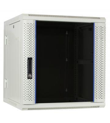 12U witte wandkast (kantelbaar) met glazen voordeur 600x600x635mm