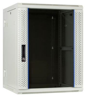 15U witte wandkast (kantelbaar) met glazen voordeur 600x600x770mm