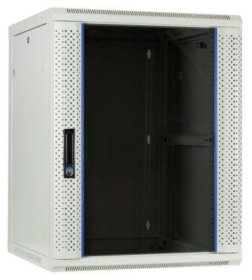 15U witte wandkast met glazen deur 600x600x770mm