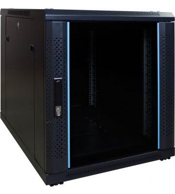 12U minikast met glazen voordeur 600x600x720mm