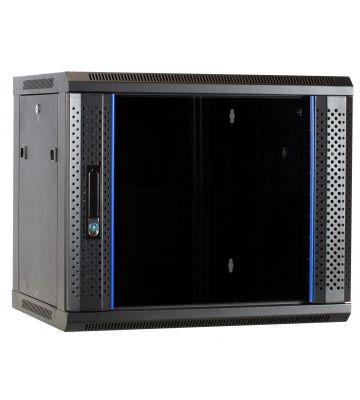 9U wandkast ongemonteerd met glazen deur 600x450x500mm